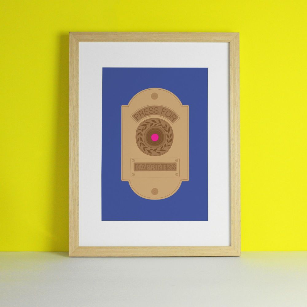 Happiness Button Interactive Art Print