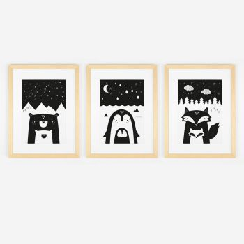 Monochrome Scandi Animal Faces Art Print Trio