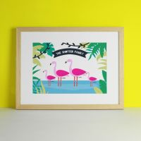 Flamingo Family Personalised Art Print