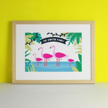 Flamingo Family Personalised Art Print