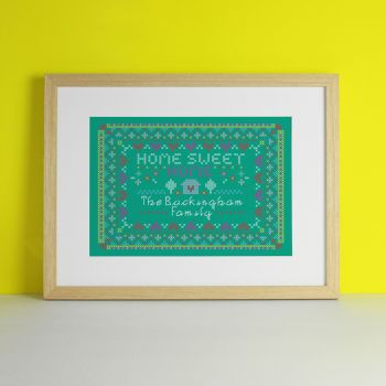 Family Embroidery Personalised Art Print