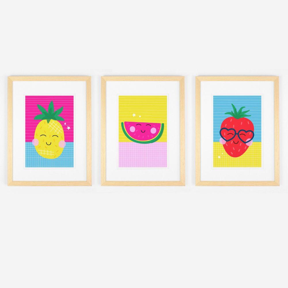 Fruity Faces Colourful Art Print Trio