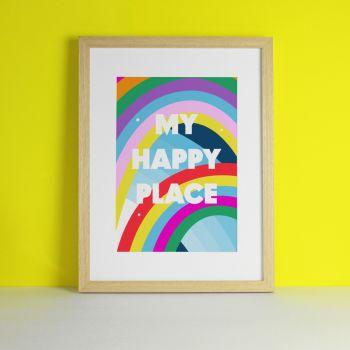 My Happy Place Rainbow Art Print