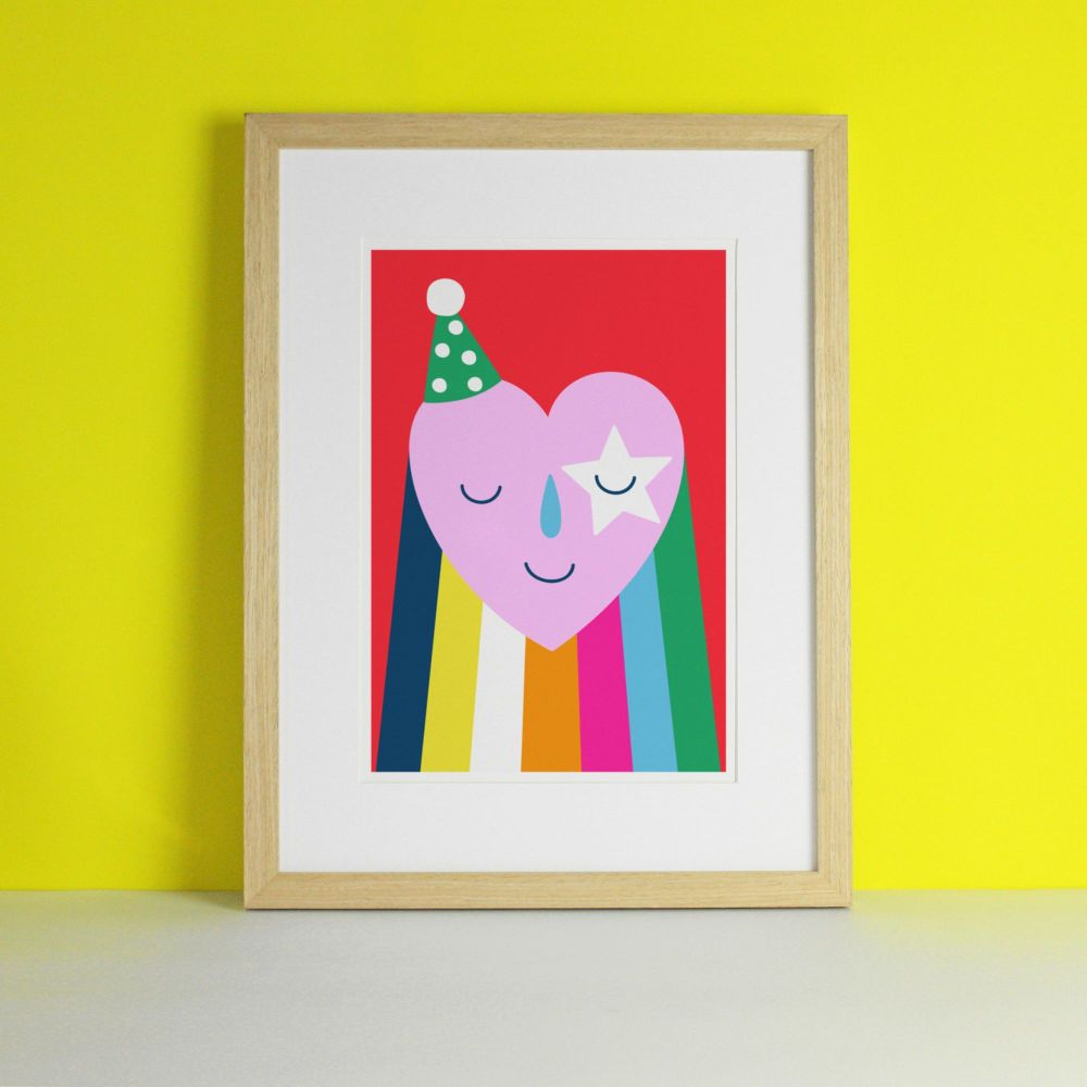 Party Rainbow Heart Art Print