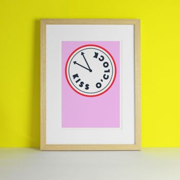 Kiss O'Clock Typography Art Print