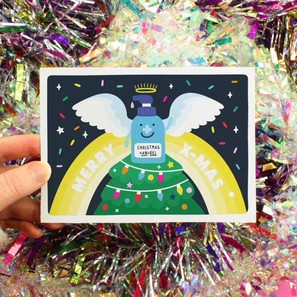 Christmas Hand Gel Angle Greeting Card