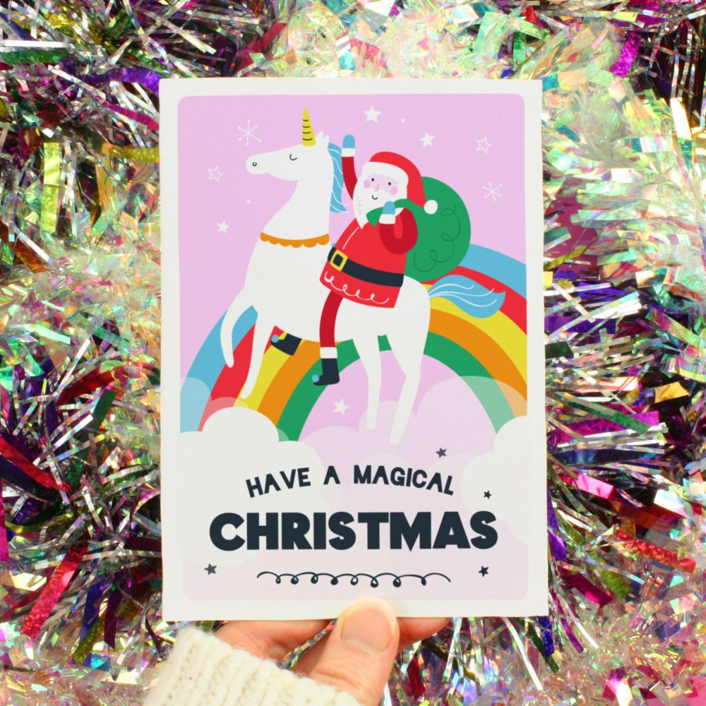 Father Christmas Riding Unicorn Greeting Card