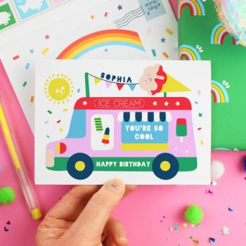 Ice Cream Van Personalised Birthday Card