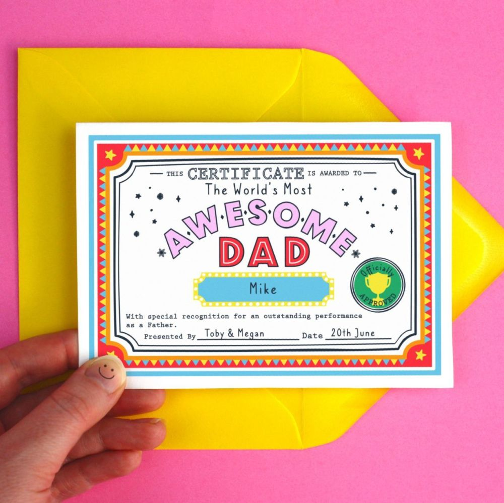 Awesome Dad Personalised Certificate Greeting Card