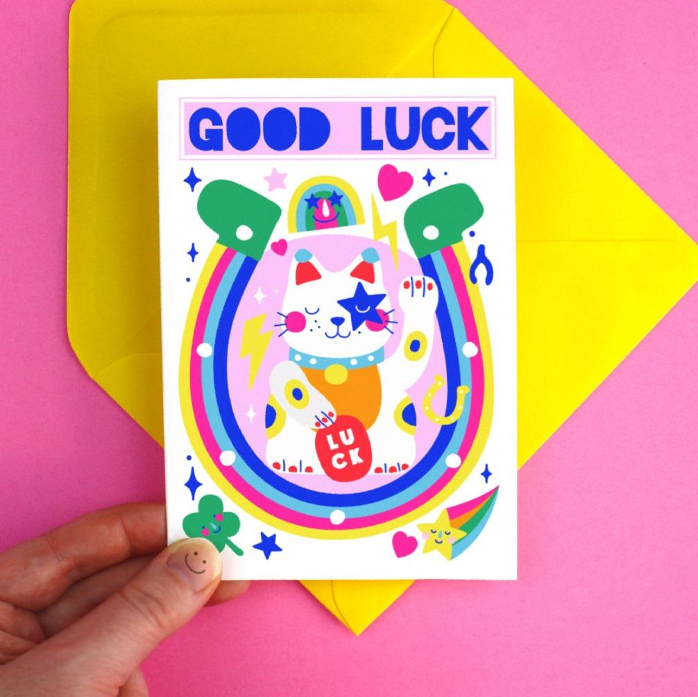 Good Luck Lucky Cat Greeting Card