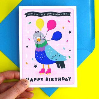 Happy Birthday Pigeon Greeting Card