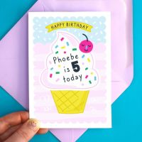Ice Cream Birthday Personalised Greeting Card