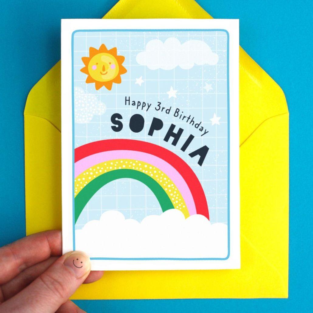 Kids Rainbow Birthday Personalised Greeting Card