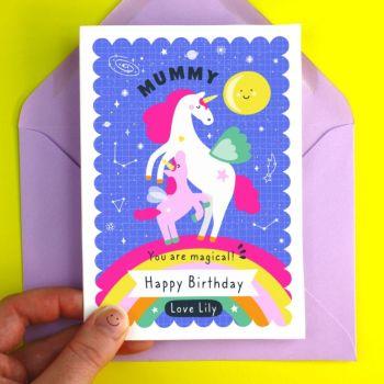Mummy Birthday Unicorn Personalised Card