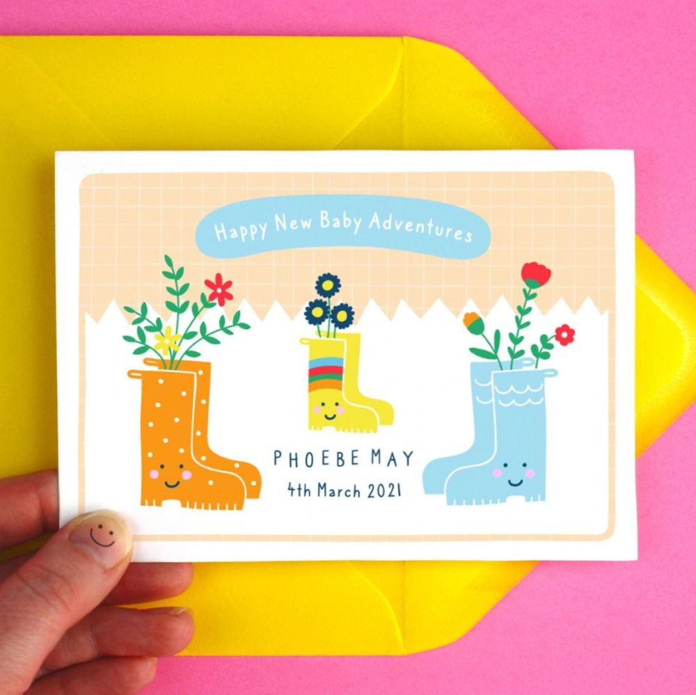 New Baby Personalised Welly Boots Greeting Card