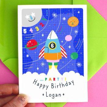 Personalised Kid's Space Birthday Card