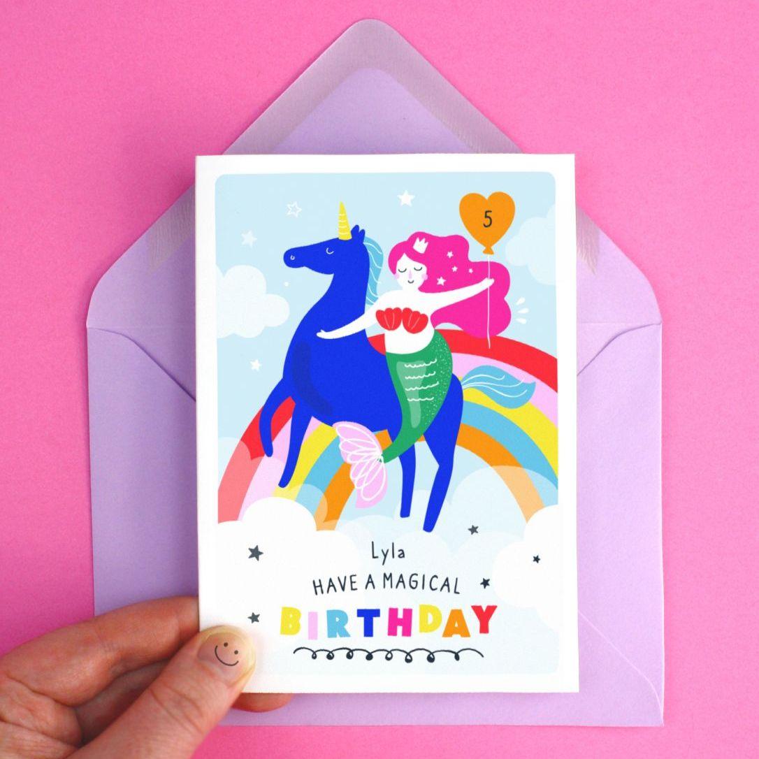 Unicorn & Mermaid Girl's Magical Happy Birthday Greeting Card