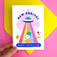 New Baby Alien Invasion Greeting Card