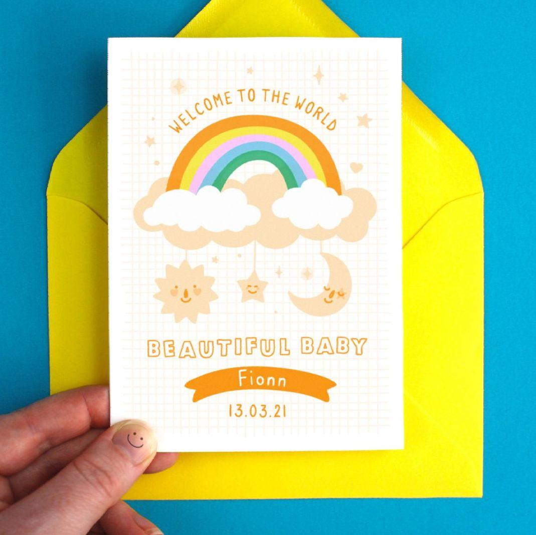New Baby Rainbow & Stars Personalised Greeting Card