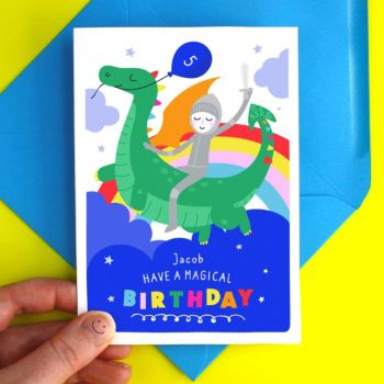 Dragon & Knight Happy Birthday Kid's Card
