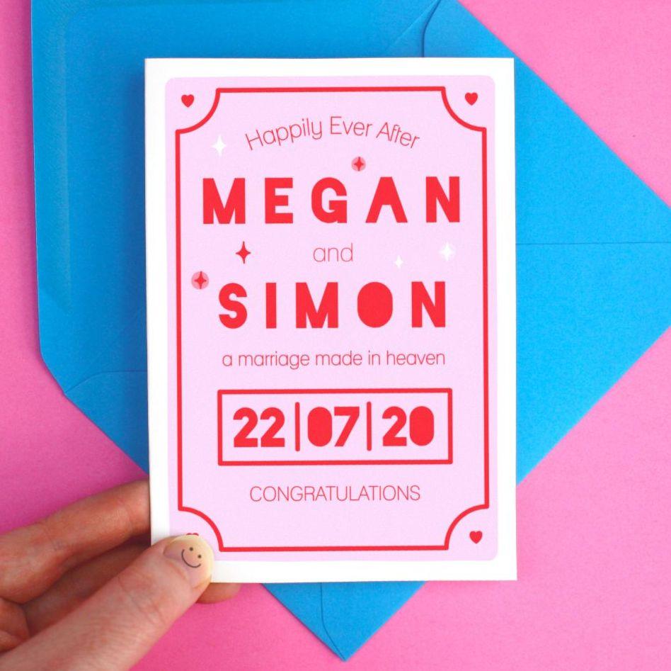 Personalised Modern Wedding Pink Greeting Card