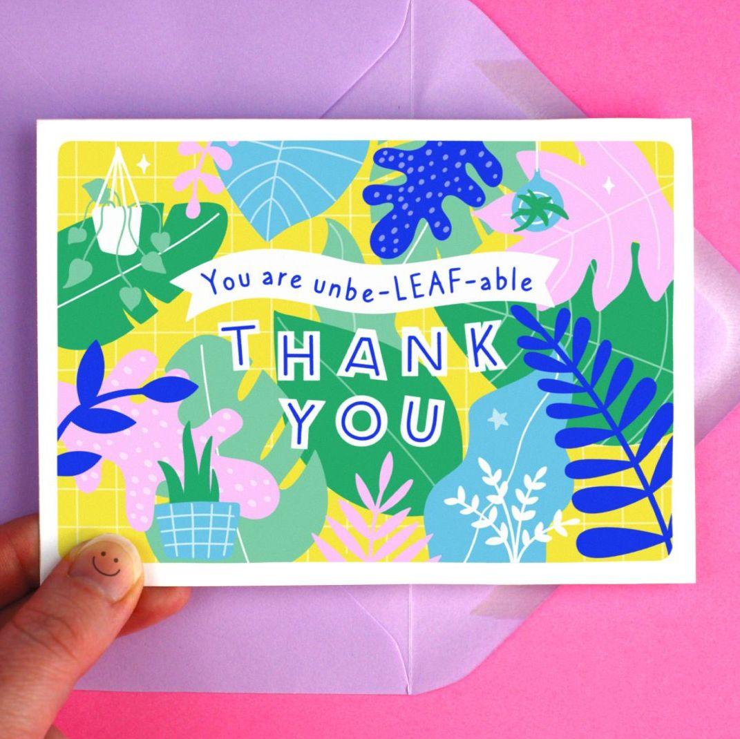 Thank You Botanical Leaf Greeting Card