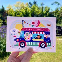 Ice Cream Van Monkey Postcard