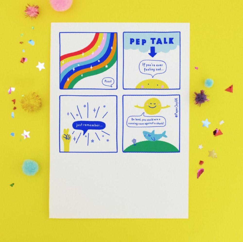 Shark Pep Talk Postcard