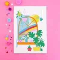 Happy Rainbow Window Postcard