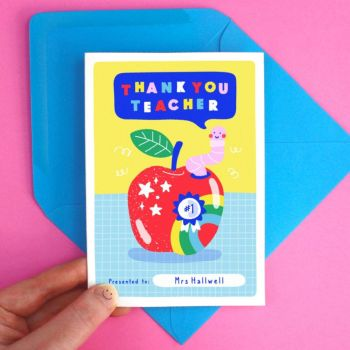 Teacher Thank You Rainbow Worm Apple Card