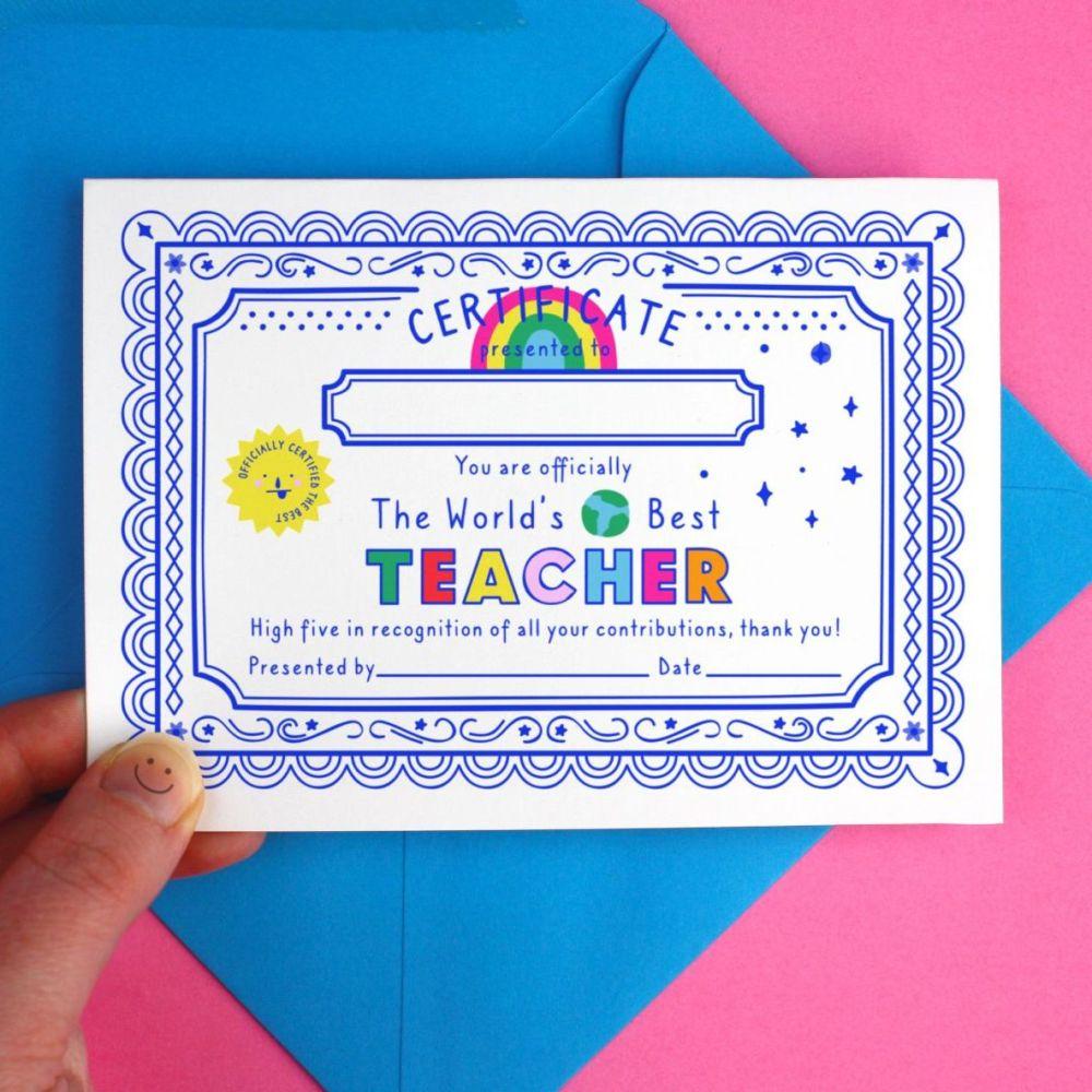 World's Best Teacher Certificate Card