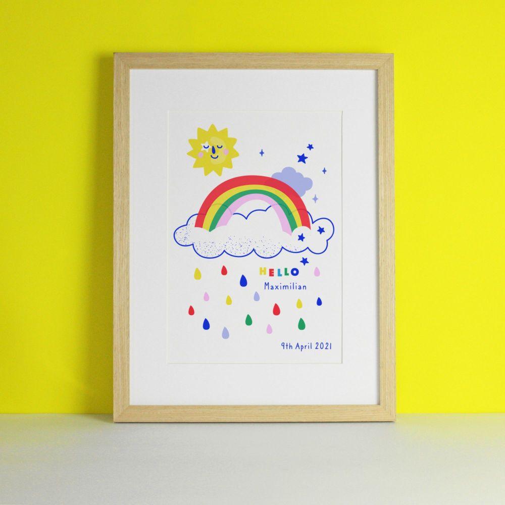 Rainbow and Sunshine Colourful Art Print