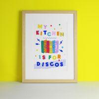 Disco Kitchen Colourful Typography Art Print