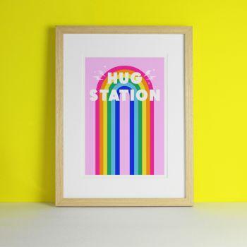 Hug Station Rainbow Art Print