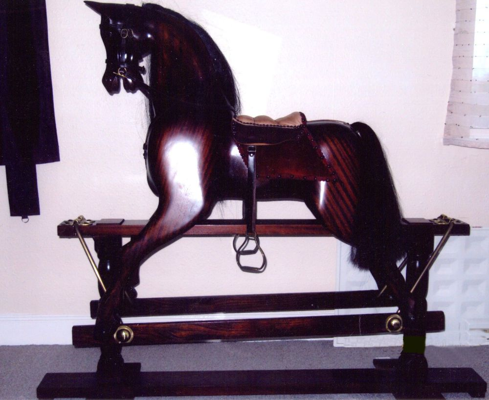 Mahogany Wooden Rocking Horse 50in As New