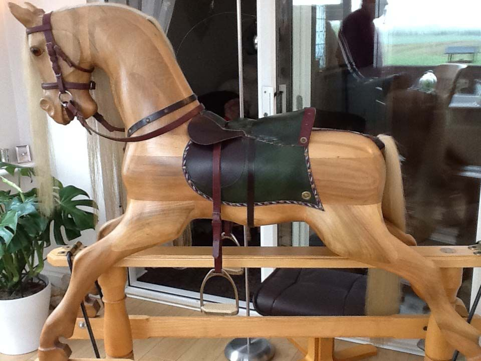 Arabella 60in XL Wood Rockng Horse English Walnut On Ash Stand