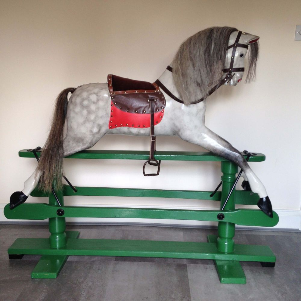 Antique Lines Rocking Horse 49in Green Stand
