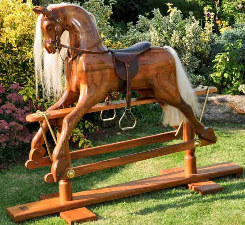 Rare Rocking Horse carved in Walnut
