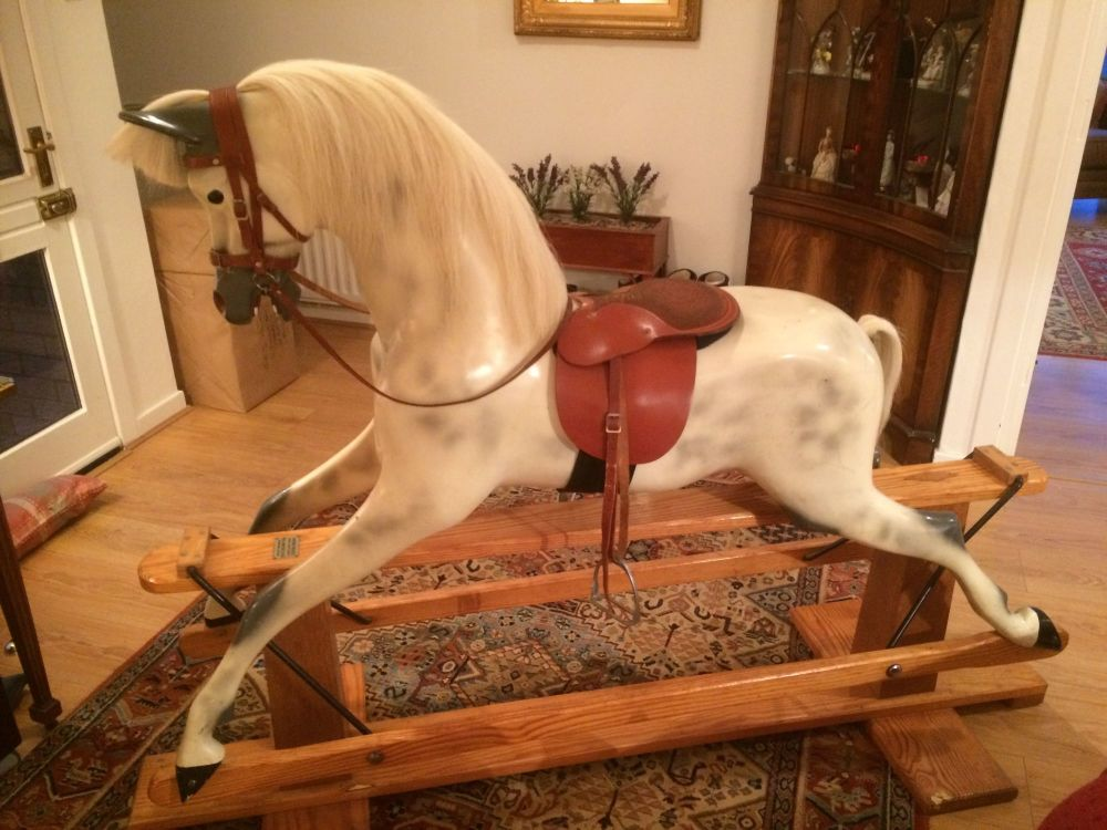 Haddon Large Rocking Horse White Mane & Tail 50in Removable Tack