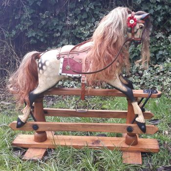 FH Ayres fully restored 31in rocking horse c1915