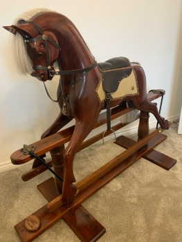 Mahogany Carved Rocking Horse 46in Fran made by John & Dorothy Woods