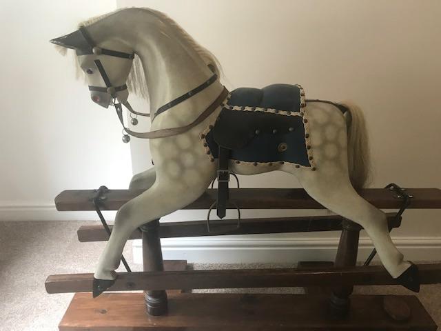 John & Dorothy Woods Hand Carved Vintage Rocking Horse