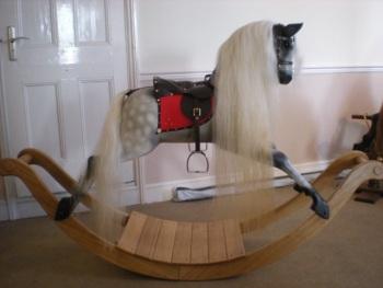 """Rocking Horse Workshop White Horses BRAND NEW Large Rocking Horse on Oak Bow 46"""""""