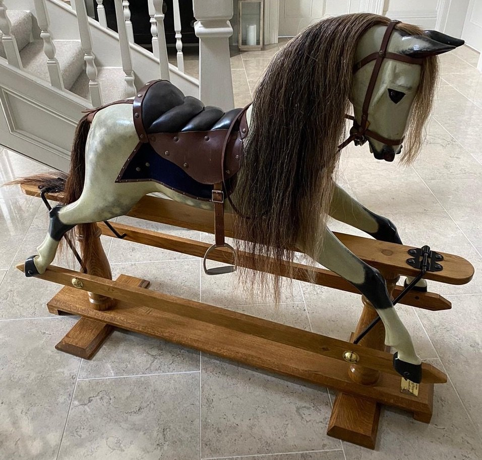 Legends Dapple  44in hand carved rocking horse swing stand