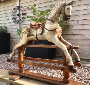 Rare G&J Lines Deer Hide-covered rocking horse 44in