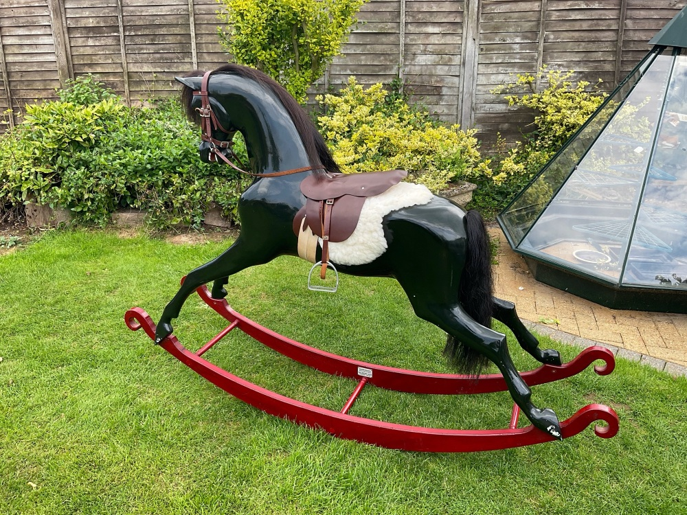 HADDON BLACK BEAUTY EARLY RARE LARGE HORSE 50in ON RED BOW ROCKER