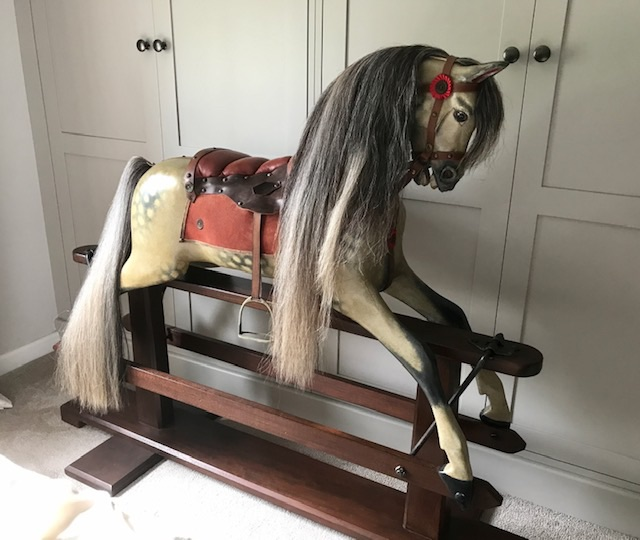 Ayres Rocking Horse 48in restored flowing grey mane