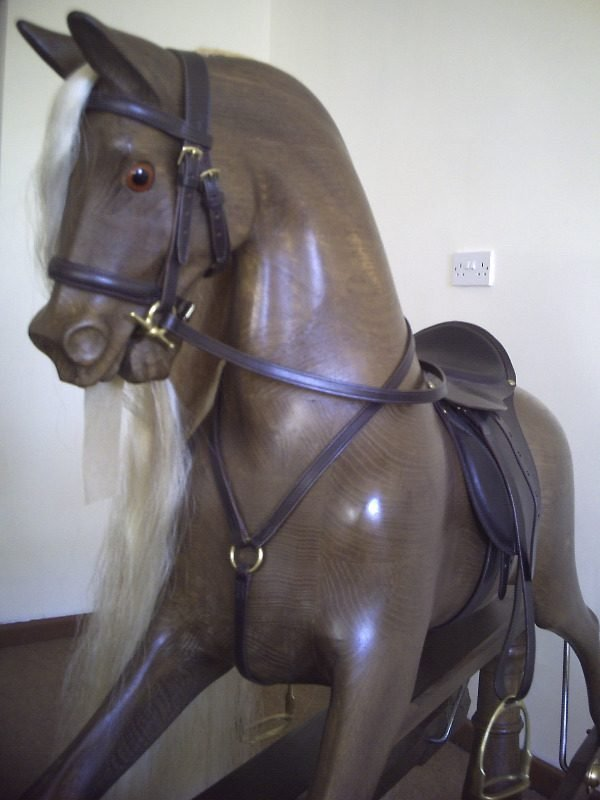 Sir Lancelot Beautiful Oak Rocking Horse with realistic removable leather s