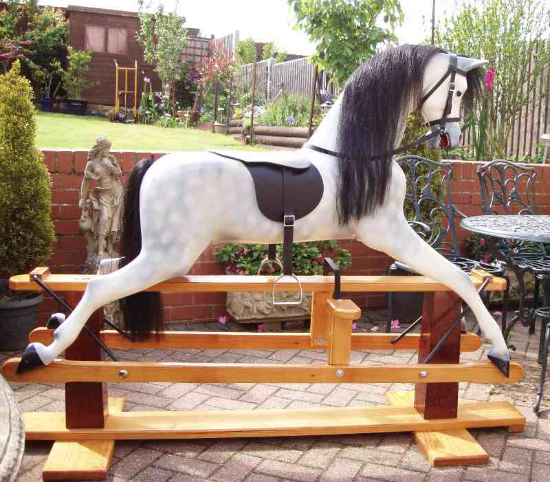 haddon rocking horse in garden