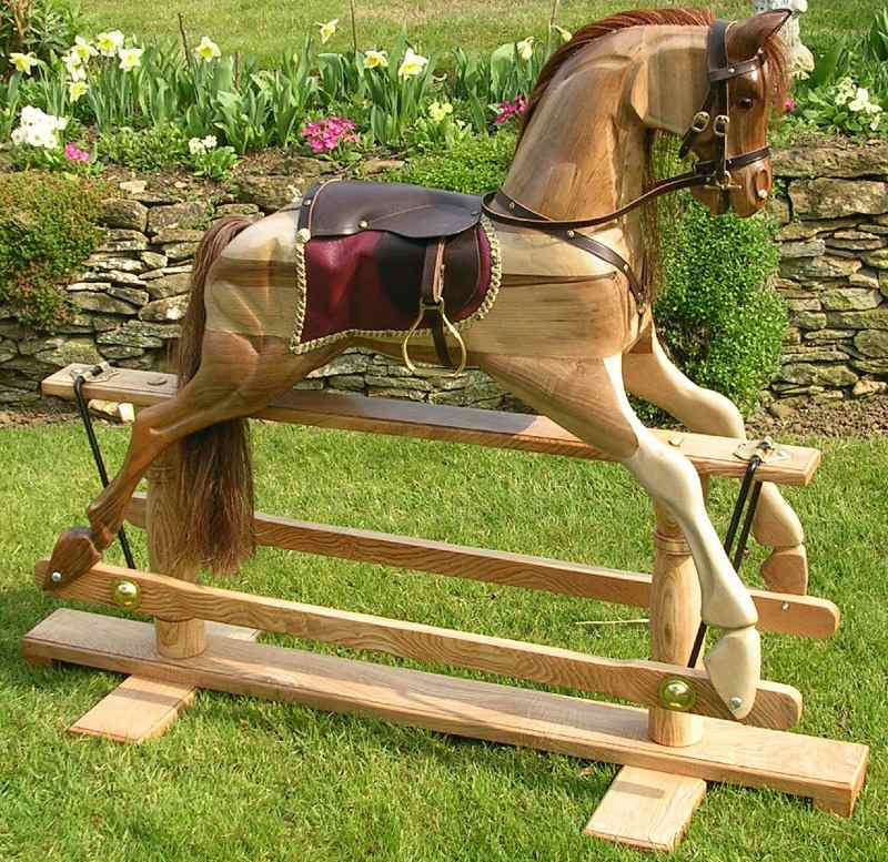 Fine English Walnut Carved Rocking Horse